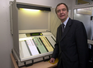 Then-Minister for the Environment Martin Cullen at the launch of details of Electronic Voting equipment at the Mansion House in Dublin in 2004.
