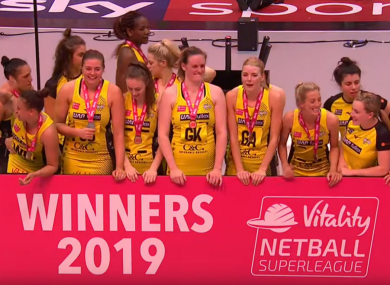 Manchester Thunder players celebrate at the Copper Box.