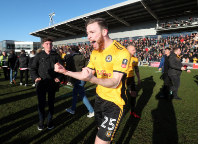 Newport County's Mark O'Brien celebrates (file pic).