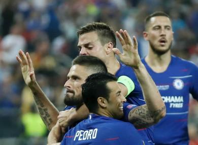 Chelsea's Olivier Giroud celebrates his goal against Arsenal.