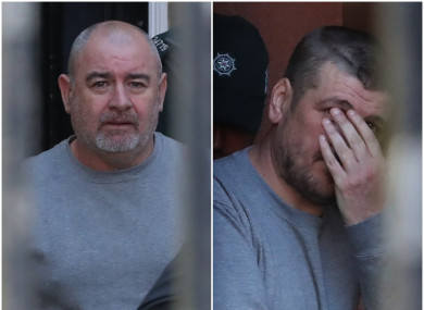 L-to-R: Paul McIntyre, aged 51, and Christopher Gillen, aged 38, appear at Derry Magistrates' Court today.