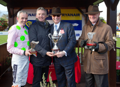 Left to right: Ruby Walsh, Michael O'Leary, Rich Ricci and Willie Mullins at Punchestown in 2016.