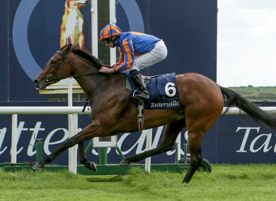 Ryan Lee Moore on Hermosa won The Tattersalls Irish 1,000 Guineas.