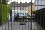 Gardaí at the scene of the shooting this afternoon.