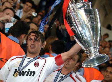 Maldini celebrates after beating Liverpool in the 2007 Champions League final.