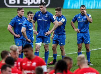 The Leinster team dejected at full-time.