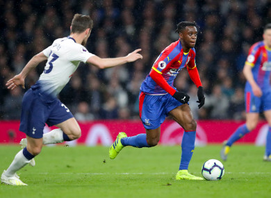 Wan-Bissaka in action against Spurs last month.