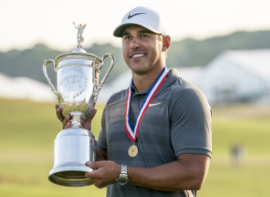 Brooks Koepka pictured after winning the 2018 US Open.
