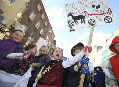 File photo of Traveller children protesting outside Leinster House in 2015.