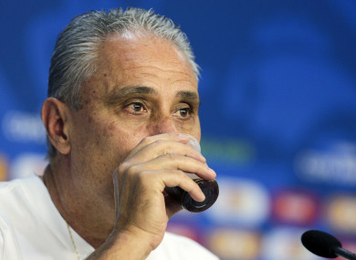 Brazil manager Tite speaking at a press conference this week.