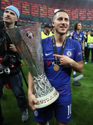 Hazard scored twice as Chelsea won the Europa League against Arsenal.