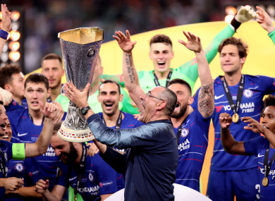Sarri guided Chelsea to Europa League glory last month.