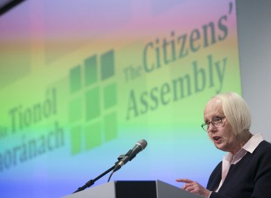 Chairperson of the Citizens' Assembly Ms Justice Mary Laffoy
