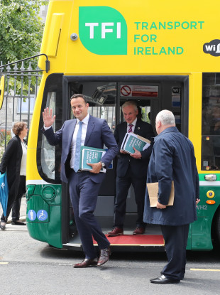 The Taoiseach and his Cabinet travelled to the launch of the government's Climate Action Plan in a hybrid bus.