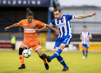McCauley in action for Coleraine in the Europa League.