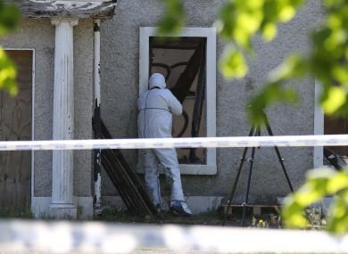 A Garda forensic team at the scene.