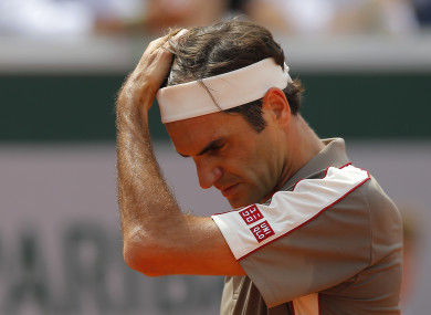 Federer pictured during Tuesday's quarter-final at Roland Garros.