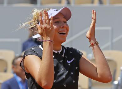 Anisimova reaches her first Grand Slam semi-final.