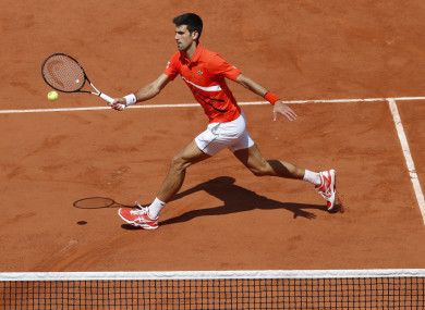 Djokovic in action today.