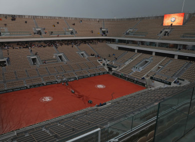 A near empty center court Philippe Chatrier as rain washes out some of this week's French Open action.