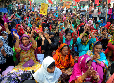 Garment workers protest in front of Press Club in Dhaka, Bangladesh, in 2015.
