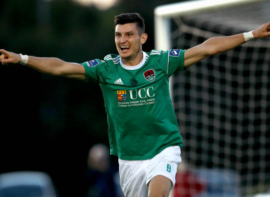 Graham Cummins celebrates after scoring for Cork City against Waterford in August 2018.