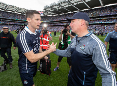 Jim Gavin celebrates with Stephen Cluxton after the 2018 All-Ireland final.