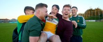 John Murphy celebrates with his club mates after the game.