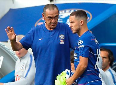 Maurizio Sarri pictured above with Eden Hazard.