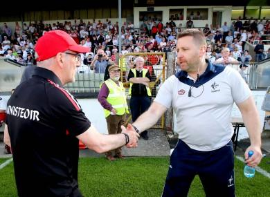 Tyrone boss Mickey Harte with Kildare manager Cian O'Neill.