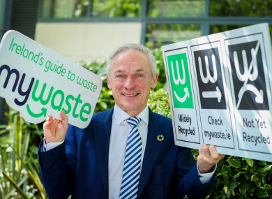 Minister Richard Bruton with the labels today.