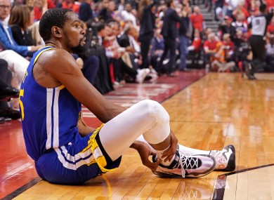 Kevin Durant suffered an injury during game five of the NBA Finals, ruling him out of the rest of the season.