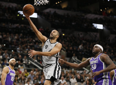 Tony Parker in action for San Antonio Spurs in 2018.