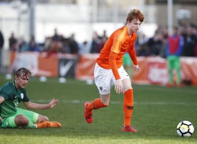 Van den berg in action for the Netherlands U19s.