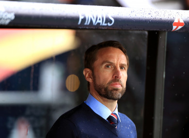 Gareth Southgate pictured during tonight's match.