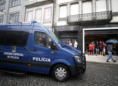 A heavy police presence in Guimaraes ahead of England's meeting with the Netherlands.