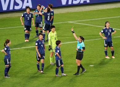 Japan's Saki Kumagai was booked for conceding the late spot-kick.