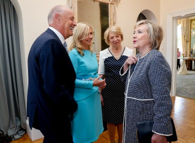 Hillary Clinton meeting with Sabina Higgins and Barretstown chairperson Maurice Pratt and CEO Dee Ahearn.