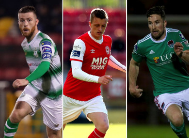 Jack Byrne of Shamrock Rovers, St Patrick's Athletic's Chris Forrester and Gearoid Morrissey of Cork City.