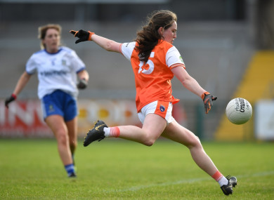 Niamh Reel of Armagh shoots to score her side's second goal.