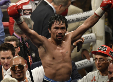 Manny Pacquiao celebrates his victory over Adrien Broner.