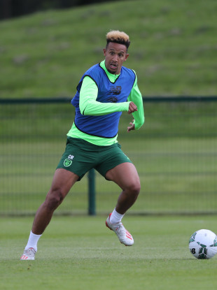 Callum Robinson pictured during yesterday's Ireland training session in Abbotstown.