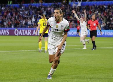 Tobin Heath scored USA's second goal at Stade Oceane.