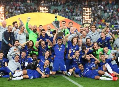 Chelsea players celebrate winning the Europa League in Baku, Azerbaijan.