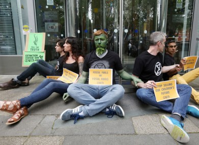 Extinction Rebellion protesters at the Department of Communications and Climate Actions this afternoon.
