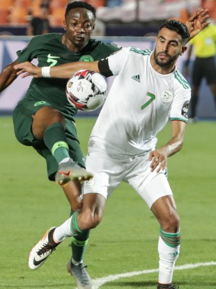 Mahrez on the ball for Algeria.