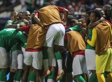 Madagascar players celebrate.