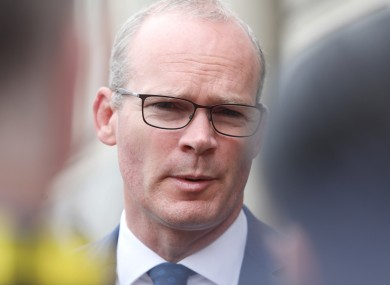 Simon Coveney speaking to the media earlier this month at Dublin Castle.