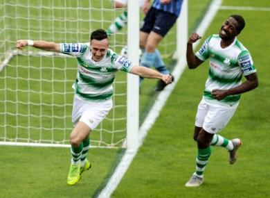 Aaron McEneff celebrates scoring his side's fifth goal.