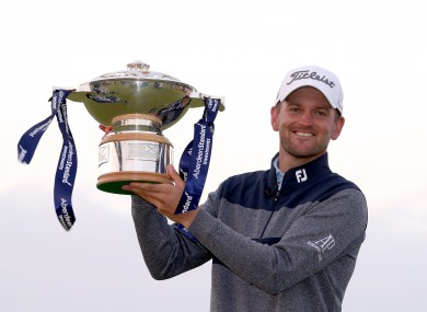Bernd Wiesberger with the trophy after winning the Scottish Open.